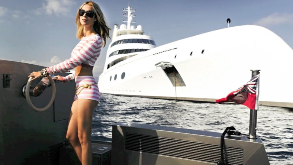 Motor yacht A and hot woman