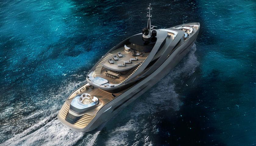 Aurea Superyacht Concept aerial