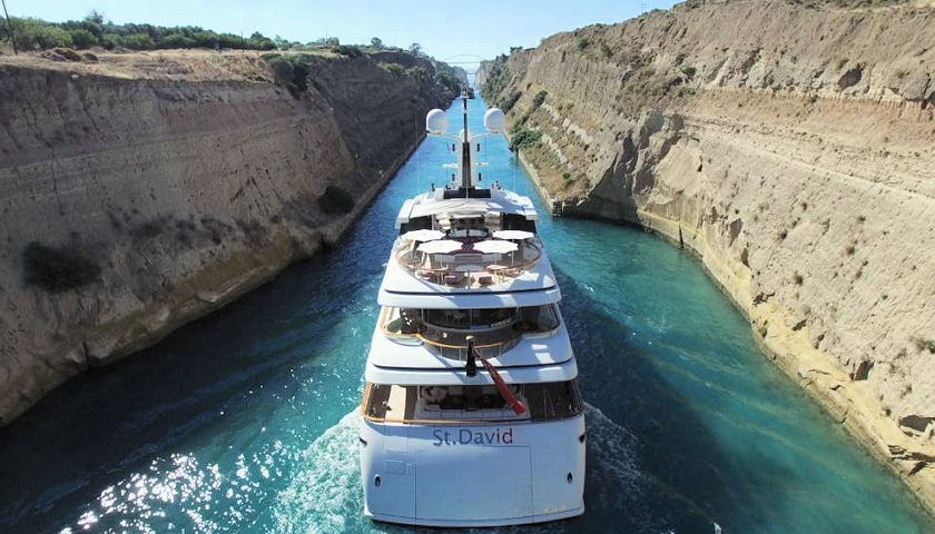 St David yacht in Corinth Canal