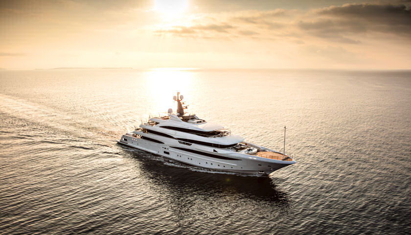 Cloud 9 superyacht sunset aerial