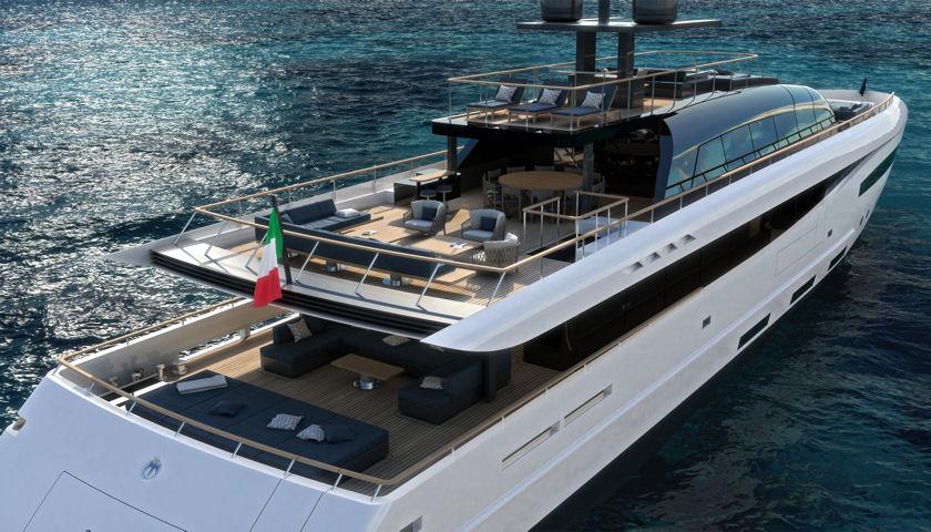 Baglietto 50 meter yacht rear view