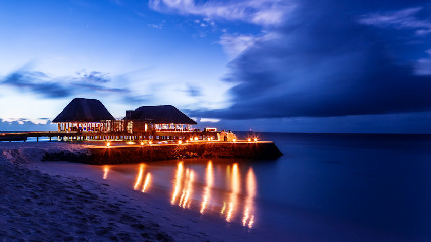 Maldives Romantic restaurant on the beach