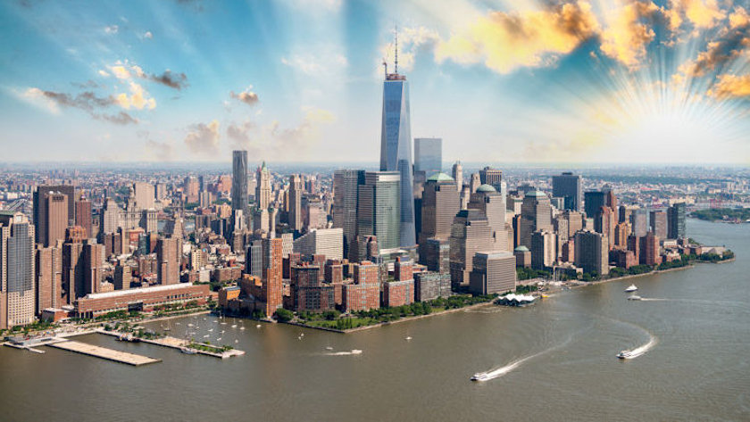 Helicopter view of Lower Manhattan
