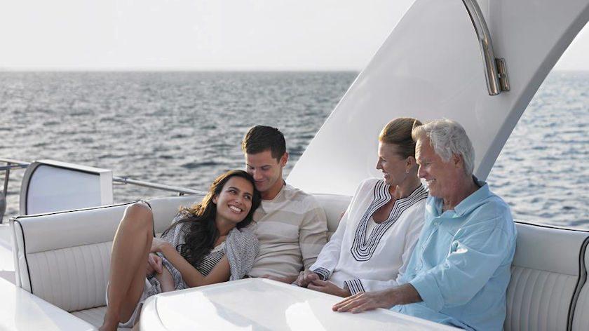 Family on yacht