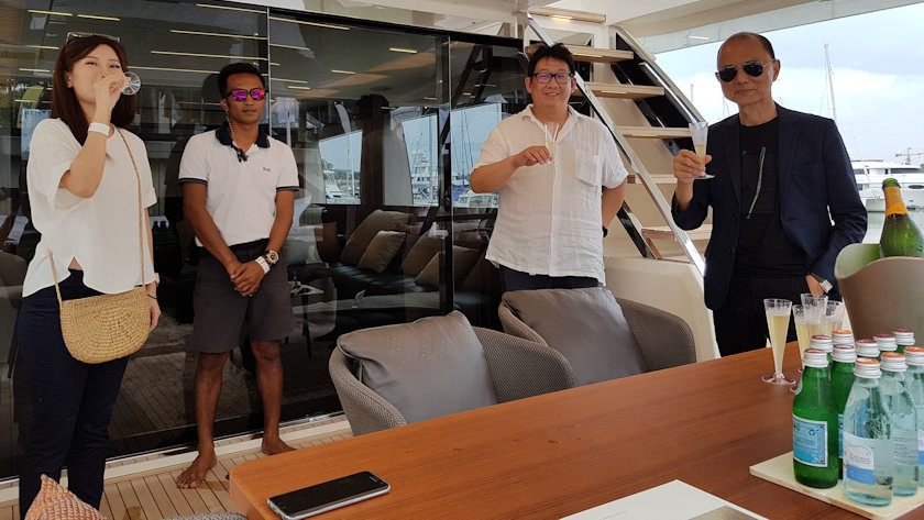Jimmy Choo on board Ferretti yachts 780
